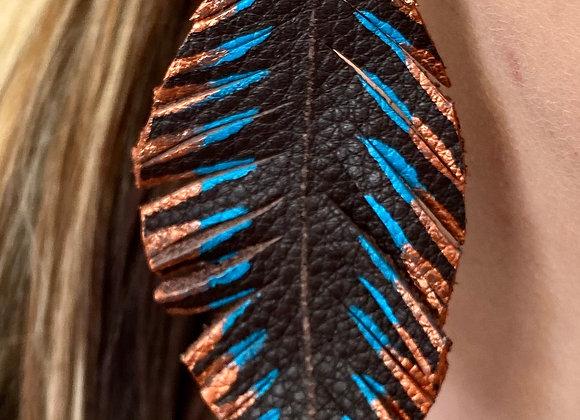 Coffee & Blue/Copper Feather Earrings