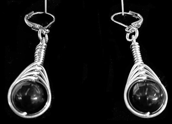 Onyx Herringbone Earrings