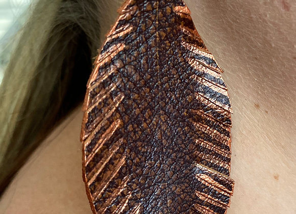 Vintage Rust & Metallic Copper Leather Feather Eearrings