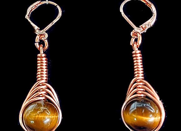 Brown Tiger Eye Herringbone Earrings