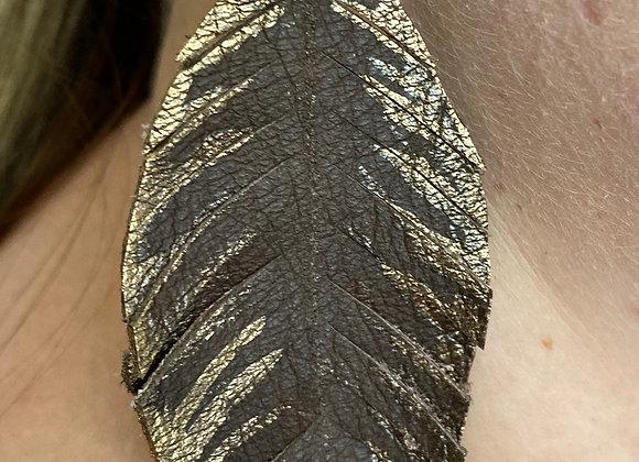 Chocolate & Metallic Bronze Feather Earrings