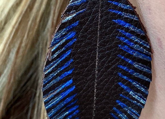 Coffee & Pacific Blue Feather Earrings