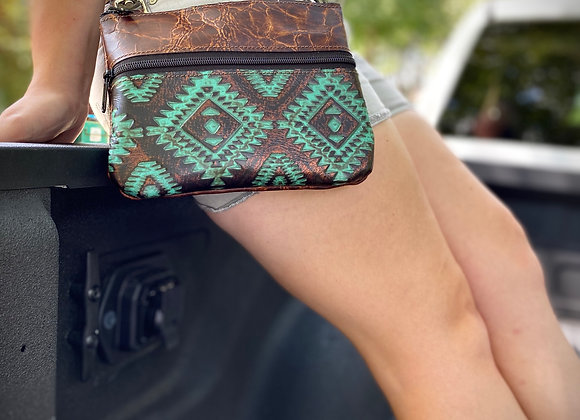"""Distressed Cabin Brown and Aztec Turquoise/Copper """"Memphis"""" Bag"""