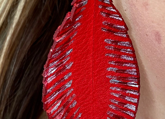 Red & Metallic Pewter Feather Earrings