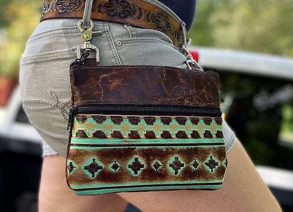 """Distressed Cabin Brown & Navajo Turquoise/Brown Crosses """"Memphis"""" Bag"""