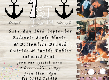 1st anniversary celebration day on Saturday 26th September. Updated Due to new Covid19 guidelines
