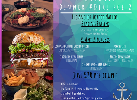 Thursday 6th Feb Meal Deal for Two