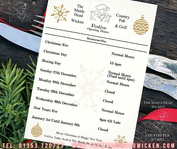 Christmas open hours facebook Maids Head