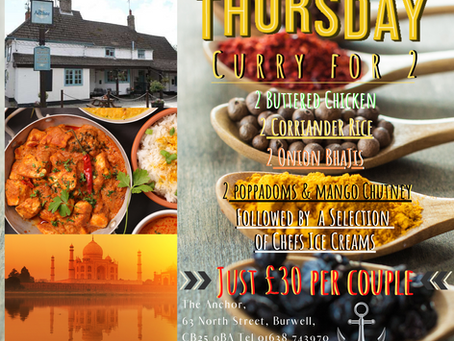 Thursday 5th March Meal Deal for Two