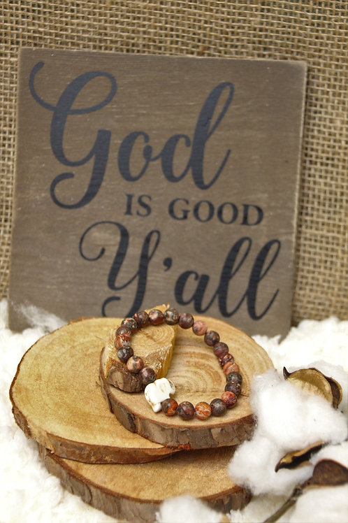 Lava beads and Wood Bracelet
