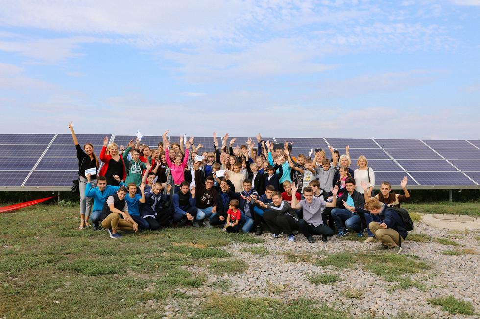 Children visiting the solar station