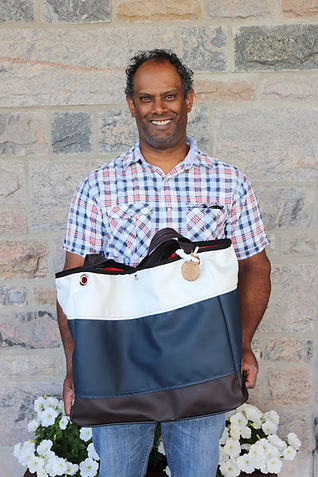 Ian Nandoo, owner and operator of drop. Nautical handbags, 1000 islands, Brockville, ON.