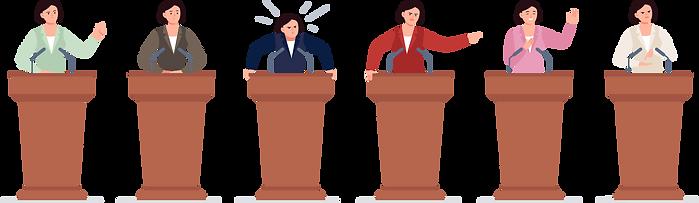 色々なカラーの服を着た女性の演説家のイラスト