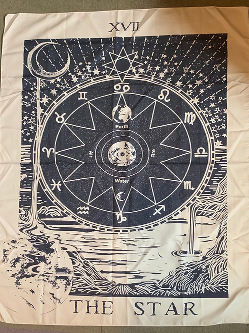 Tarot-style astrological tapestries/tablecloths