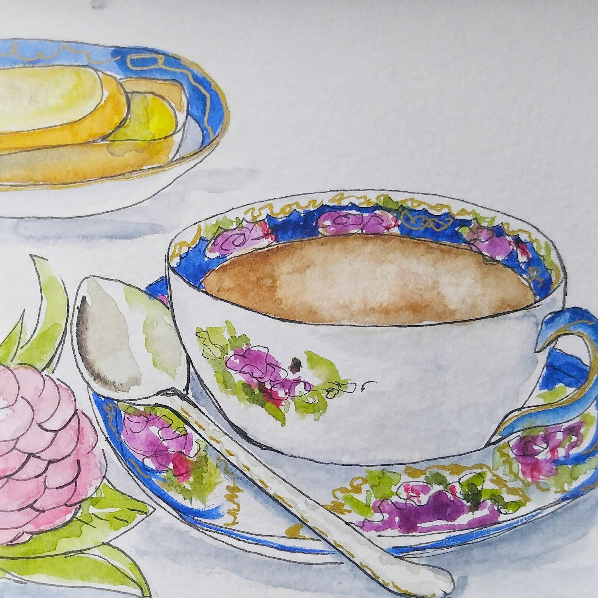 Watercolor teacup