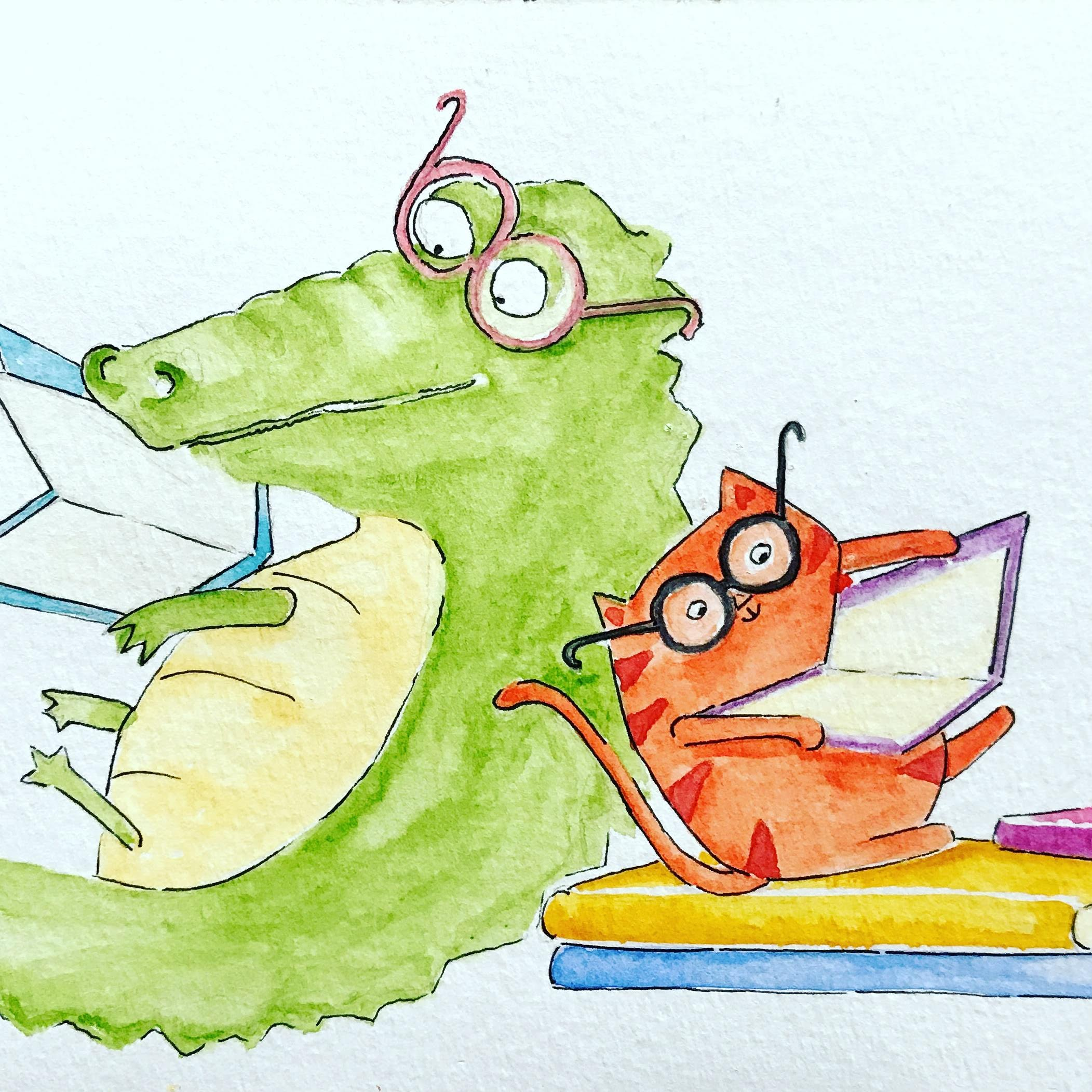 Alligator a Cat Read Together