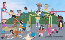 Cut Paper Art Children at Recess