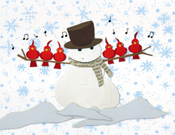Paper Snowman with Singing Birds