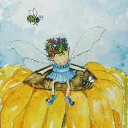 Little Fairy Sprite on Sunflower