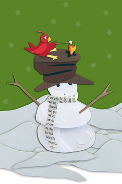 Snowman with a red bird on his head roasting marshmallows
