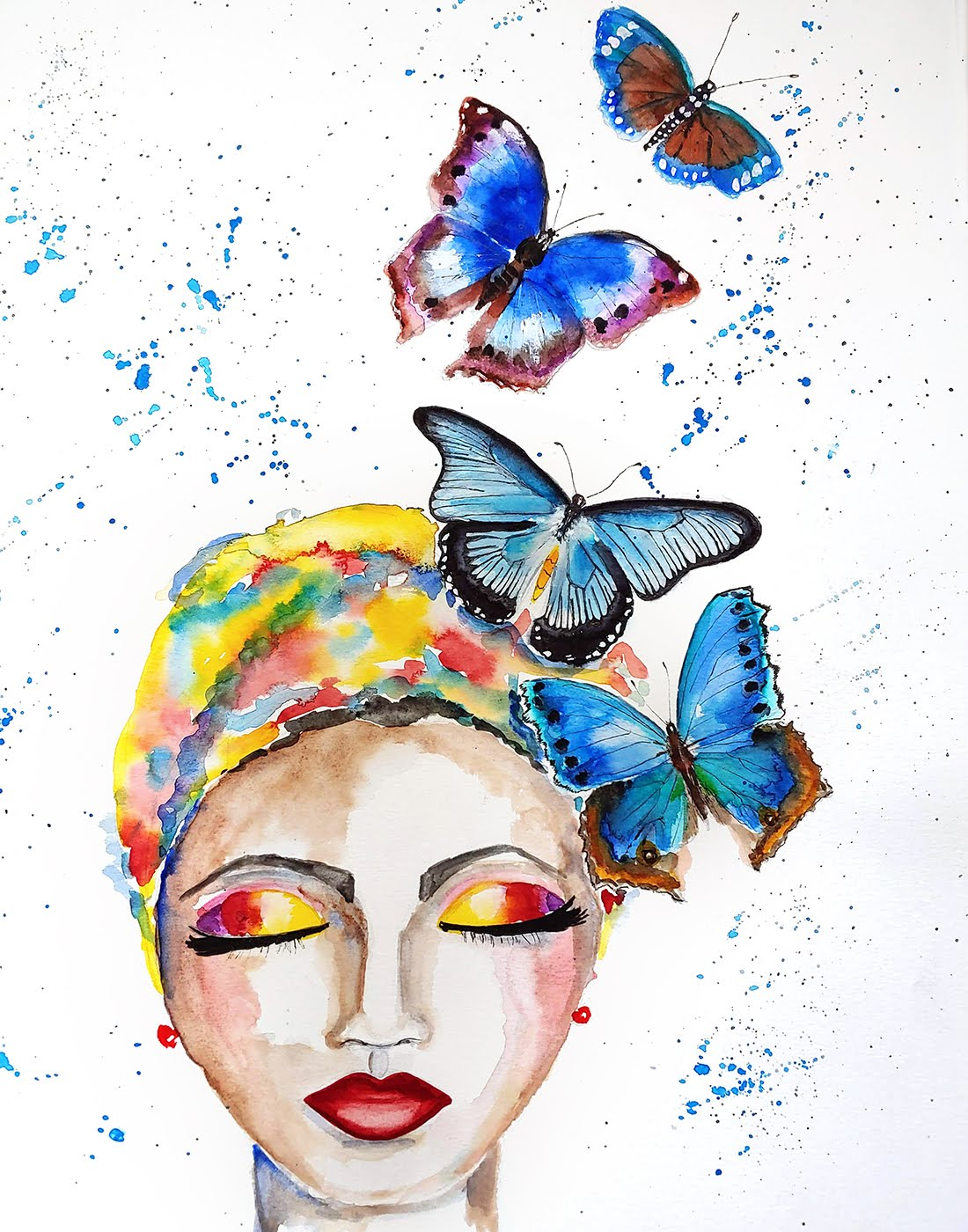 Whimsical Face with Butterflies