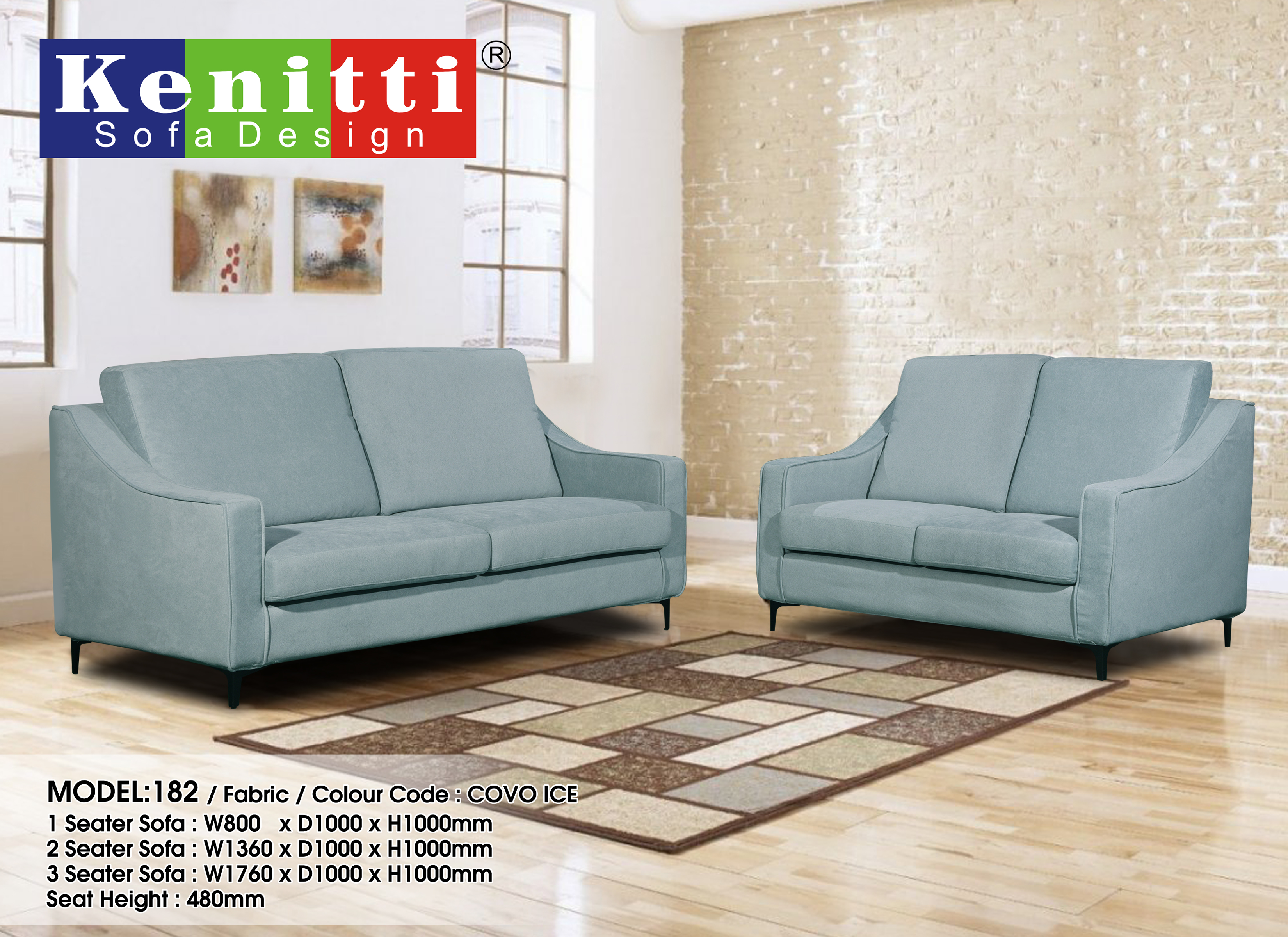 Model - 182 - 1 + 2 + 3 Fabric Sofa Color