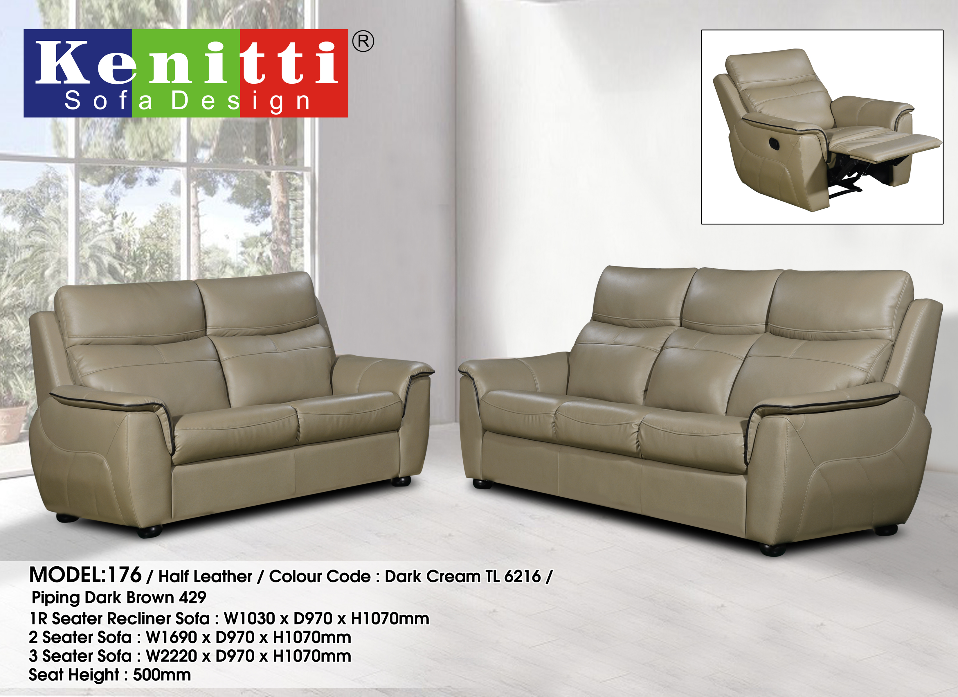 Model - 176 - 1R + 2 + 3 Half Leather