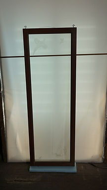 Beveled Glass Window With Etched Hunter, Dog And Birds