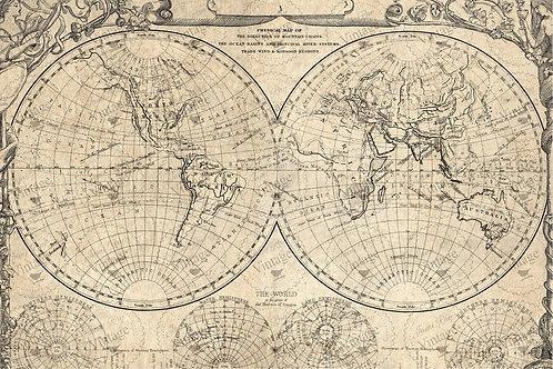 JRV Decoupagepapier World Map