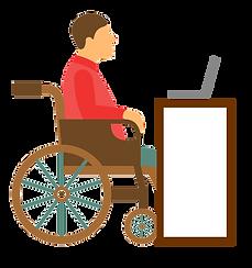 Ilustrasi orang duduk di kursi roda melihat laptop di atas meja