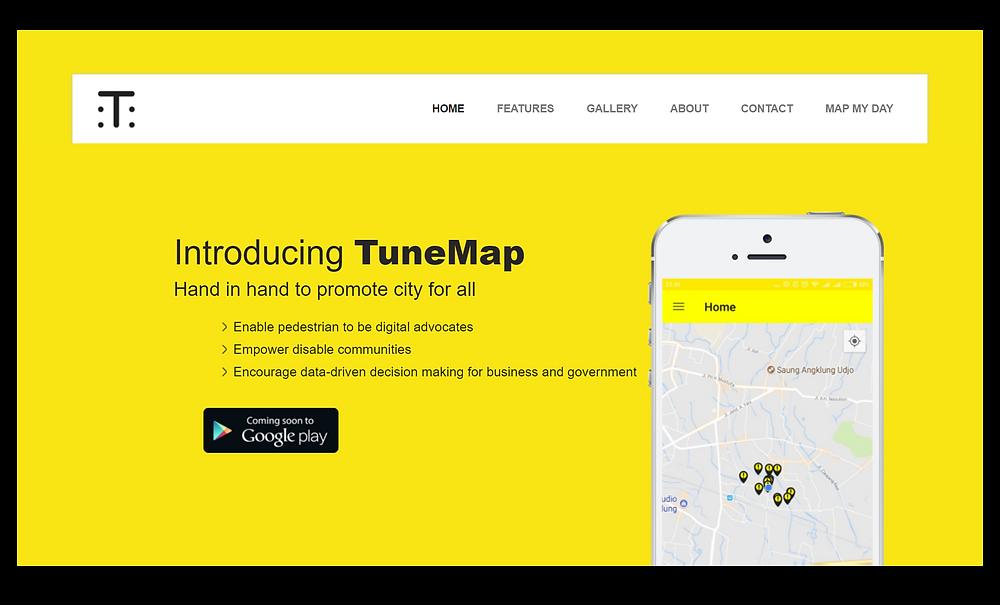 Halaman depan website TuneMap, tampilan dengan latar warna kuning, sebuah hp bergambar screenshot peta di aplikasi, dan penjelasan singkat tentang TuneMap