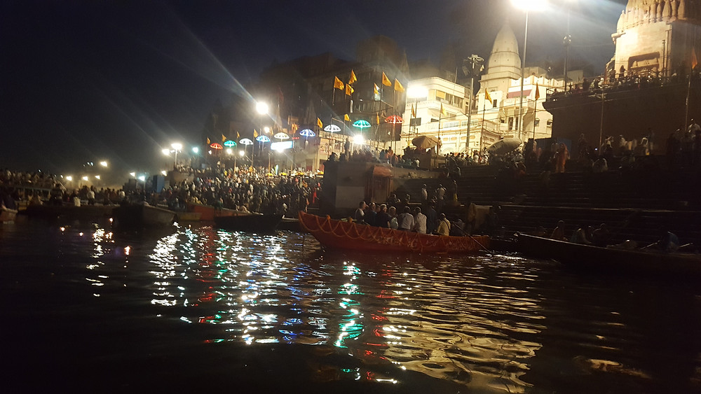 Aarti Ceremony watched by thousands from the Ganges and ghats.