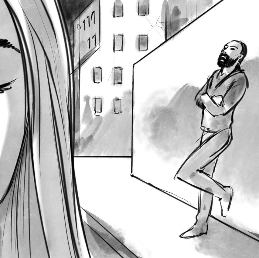 """Zoe svolta l'angolo mentre Omar canta """"in questa città""""..."""