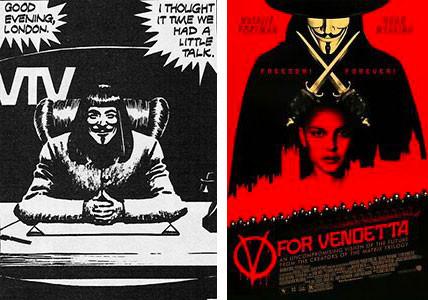 A sinistra, una vignetta del fumetto di Moore, a destra, la locandina del film.
