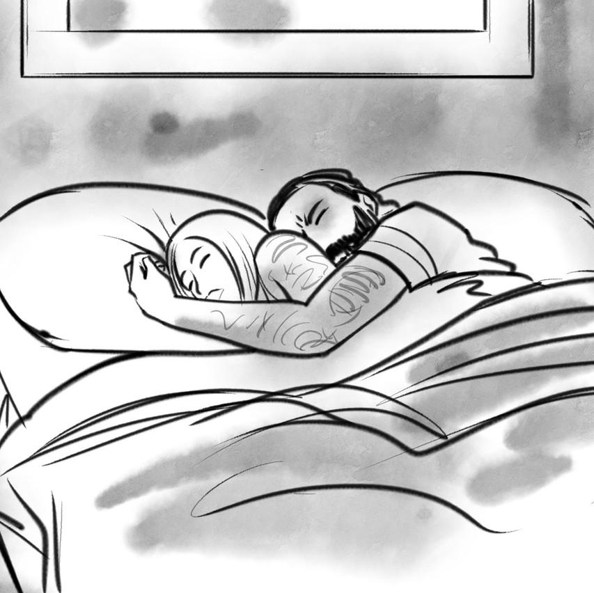 Omar e Zoe a letto insieme. La scena è ambigua e porta subito a pensieri maliziosi, ma c'è un dettaglio: lei è dentro le lenzuola, lui fuori...