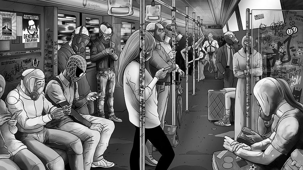Tavola 29, scena metro, © Elia Cristofoli 2020