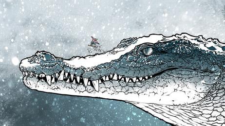 Il caimano con la neve