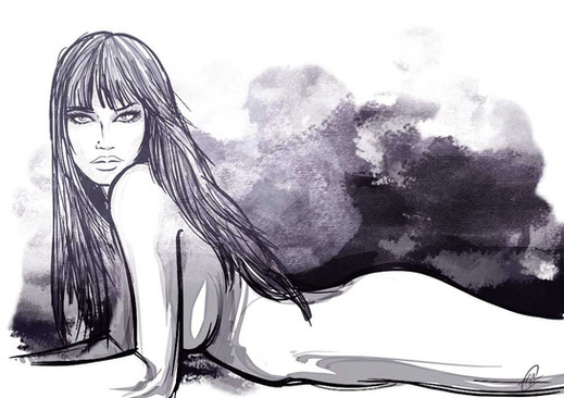 Ragazza nuda sul letto