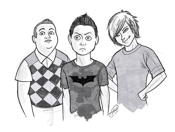 Denis, Mattia e il Giamma, disegno di Elia Cristofoli