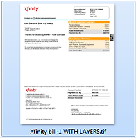 PSD Template for Xfinity/Comcast Cable Receipt.