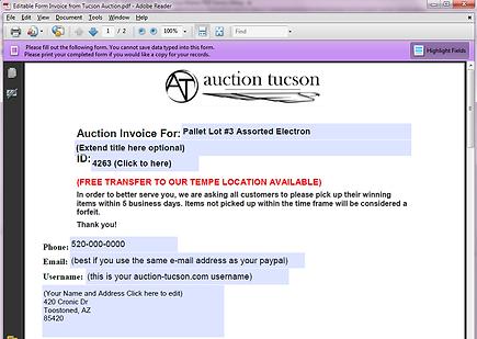Faux Auction Receipt