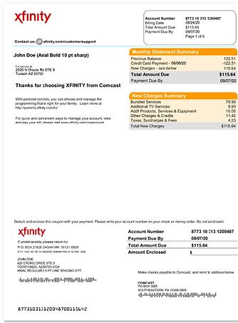 Fake Xfinity Bill