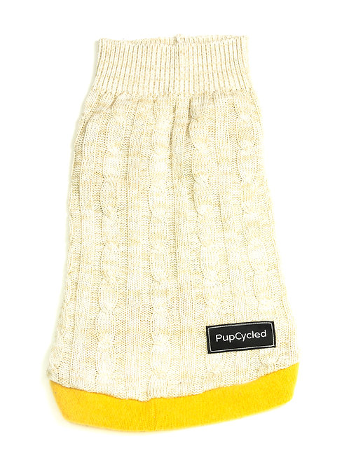 Beige and Yellow Chunky Knit Medium Sweater