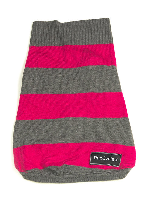 Pink and Gray Striped Small Sweater