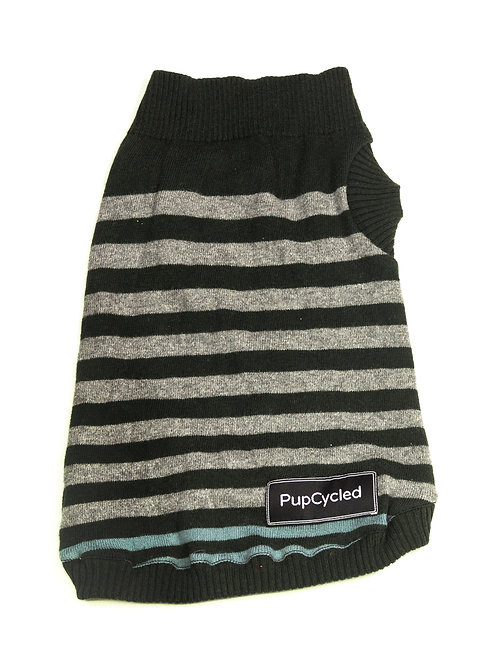 Green and Gray Striped Small Sweater