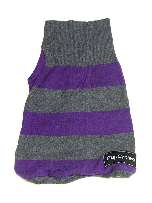 Gray and Purple Striped Small Sweater