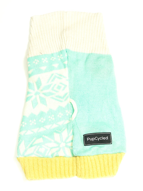 Light Teal and Yellow Snowflake Patterned Medium Sweater
