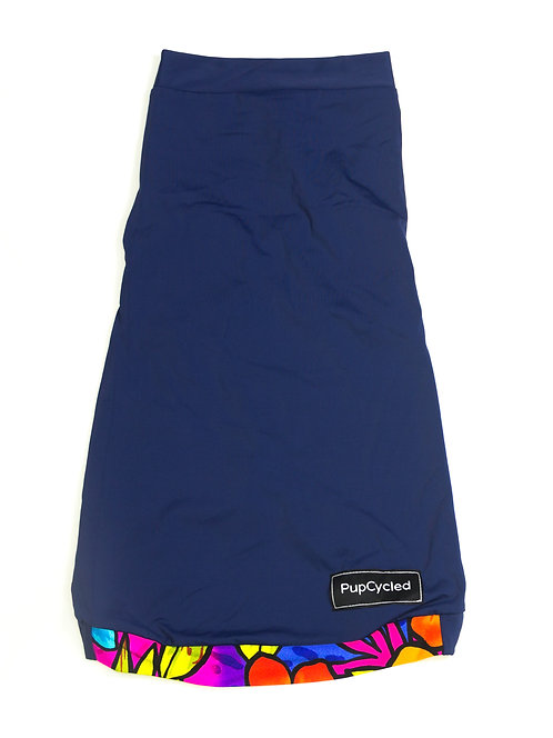 Navy Blue and Flower Print Medium Playsuit