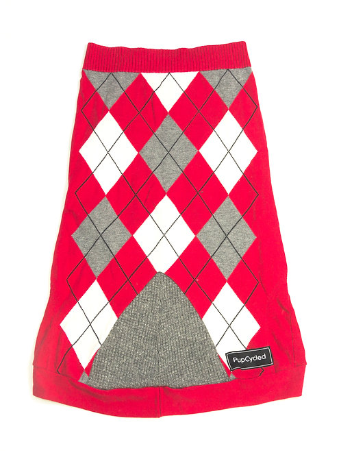 Red and Gray Argyle Extra Large Sweater