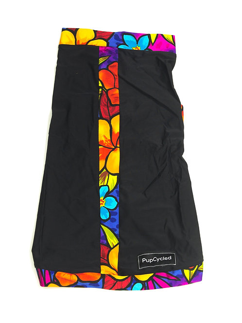 Black and Tropical Print Medium Playsuit
